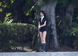 Kendall Jenner uses a fishing pole, a bicycle, and a water hose as props during a sexy photoshoot in Miami. 05 Feb 2020 Pictured: Kendall Jenner. Photo credit: MEGA TheMegaAgency.com +1 888 505 6342