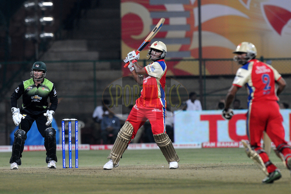 Saurabh Tiwary of Royal Challengers Bangalore bats during match 1 of the NOKIA Champions League T20 ( CLT20 )between the Royal Challengers Bangalore and the Warriors held at the  M.Chinnaswamy Stadium in Bangalore , Karnataka, India on the 23rd September 2011..Photo by Pal Pillai/BCCI/SPORTZPICS