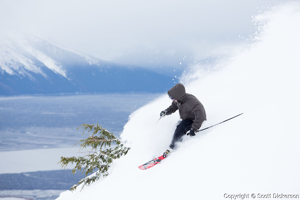 Erik Frampton skiing at Alyeska Resort, Girdwood, Alaska.