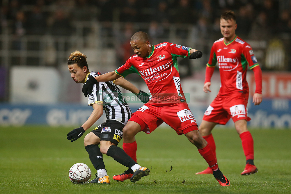 December 1, 2017 - Charleroi, BELGIUM - Charleroi's Christian Benavente and Oostende's Andile Ernest Jali fight for the ball during the Jupiler Pro League match between Sporting Charleroi and KV Oostende, in Charleroi, Friday 01 December 2017, on the day 17 of the Jupiler Pro League, the Belgian soccer championship season 2017-2018. BELGA PHOTO BRUNO FAHY (Credit Image: © Bruno Fahy/Belga via ZUMA Press)