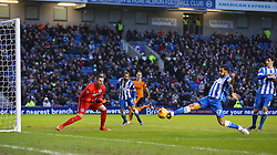 Connor Goldson ( 2nd R ) of Brighton and Hove Albion scores an own goal to make it 1-0 - Mandatory byline: Paul Terry/JMP - 07966 386802 - 01/01/2016 - FOOTBALL - Falmer Stadium - Brighton, England - Brighton v Wolves - Sky Bet Championship
