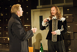 (L to R) Douglas Henshall as Cromwell and Mark Gatiss Mark Gatiss as Charles for 55 Days by Howard Brenton at The Hampstead Theatre, London, Great Britain, October 22, 2012. Photo by Elliot Franks / i-Images.