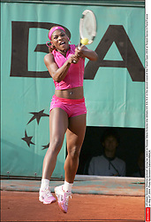 US player Serena Williams pictured during her match vs Russian Maria Kirilenko she defeats 4-6, 6-6, 6-4 in the second round of the French Open 2004 at Roland Garros in Paris-France on May 27, 2004. Photo by Gorassini-Zabulon/ABACA.