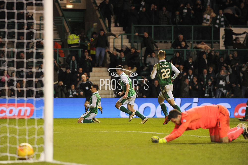19 Jamie MacLaren scores goal during the Ladbrokes Scottish Premiership match between Hibernian and Heart of Midlothian at Easter Road, Edinburgh, Scotland on 9 March 2018. Picture by Kevin Murray.