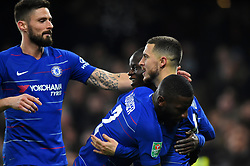January 24, 2019 - London, England, United Kingdom - Chelsea midfielder Eden Hazard celebrates his goal 2-0 during the Carabao Cup match between Chelsea and Tottenham Hotspur at Stamford Bridge, London on Thursday 24th January 2019. (Credit Image: © Mark Fletcher/NurPhoto via ZUMA Press)