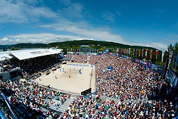 View from the top at A1 Beach Volleyball Grand Slam tournament of Swatch FIVB World Tour 2010, for bronze medal, on July 31, 2010 in Klagenfurt, Austria. (Photo by Matic Klansek Velej / Sportida)