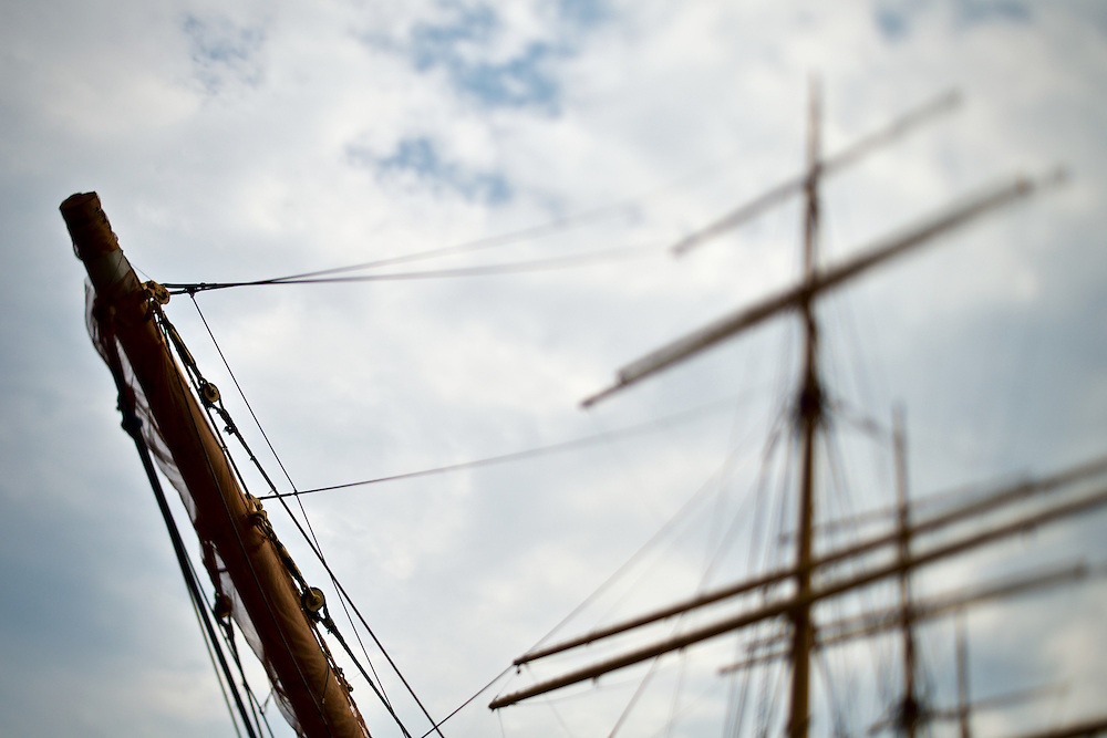 Bowsprit and masts of barque Peking at South Street Seaport, New York, NY, US