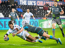 Teddy Thomas of Racing 92 scores his sides fourth try<br /> <br /> Photographer Simon King/Replay Images<br /> <br /> European Rugby Champions Cup Round 3 - Ospreys v Racing 92 - Saturday 7th December 2019 - Liberty Stadium - Swansea<br /> <br /> World Copyright © Replay Images . All rights reserved. info@replayimages.co.uk - http://replayimages.co.uk