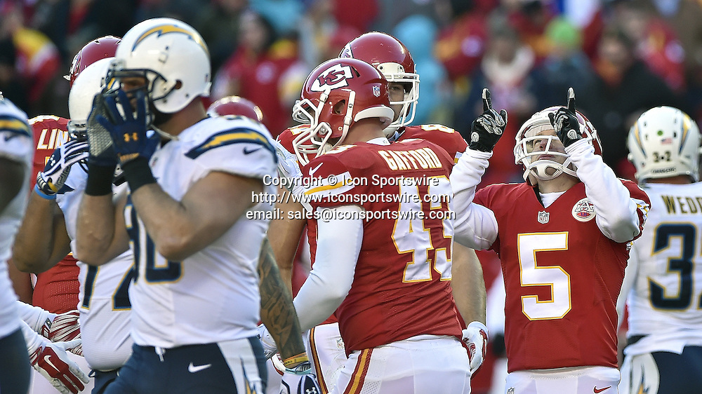 Dec. 28, 2014 - Kansas City, MO, USA - Kansas City Chiefs kicker Cairo Santos (5) celebrates a third quarter field goal during the football game against the San Diego Chargers on Sunday, Dec. 28, 2014 at Arrowhead Stadium in Kansas City, Mo. The Chiefs won 19-7