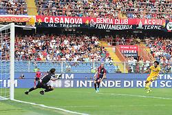 August 26, 2017 - Genoa, Liguria, Italy - Juan Cuadrado (Juventus FC) scores the third goal for Juventus  during the Serie A football match between Genoa CFC and Juventus FC at Luigi Ferraris stadium on august 26, 2017 in Genoa, Italy. (Credit Image: © Massimiliano Ferraro/NurPhoto via ZUMA Press)