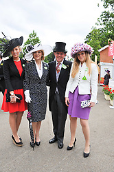 BARONESS SHACKLETON, her husband IAN SHACKLETON and their children Left, LYDIA SHACKLETON and right, CORDELIA SHACKLETON at day 2 of the 2011 Royal Ascot Racing festival at Ascot Racecourse, Ascot, Berkshire on 15th June 2011.