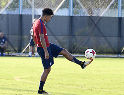 October 10, 2017 - Kolkata, West Bengal, India - England Midfielder Jodan Sancho practices during the practice session ahead of their second match at FIFA U 17 World Cup India 2017 in Kolkata. Players of the England football team during a practice session ahead of their second match at FIFA U 17 World Cup India 2017 on October 10, 2017 in Kolkata. (Credit Image: © Saikat Paul/Pacific Press via ZUMA Wire)