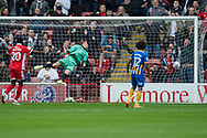 Craig MacGillivray is beaten by the shot from Daniel Agyei of Walsall during the EFL Sky Bet League 1 match between Walsall and Shrewsbury Town at the Banks's Stadium, Walsall, England on 7 October 2017. Photo by Darren Musgrove.