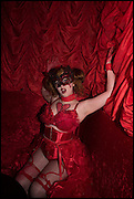 DRESS UP DOLLS; AVENTIA VORT, IN RED, The Dark Side of Love, Valentine's Masked Ball. the Coronet Theatre, Elephant and Castle. London. 13 February 2015.
