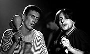 Shaun Ryder and Bez of the Happy Mondays, Looking wasted. Live at the Free Trade Hall, Manchester. 18.11.1989