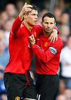 Photo: Richard Lane/Sportsbeat Images.<br />Birmingham City v Manchester United. The FA Barclays Premiership. 29/09/2007. <br />United's Cristiano Ronaldo celebrates his goal with Ryan Giggs (rt).