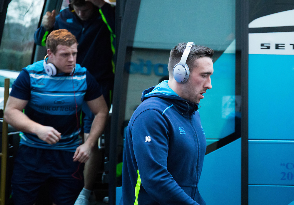Leinster's Jack Conan arrives at the stadium<br /> <br /> Photographer Simon King/Replay Images<br /> <br /> Guinness PRO14 Round 19 - Ospreys v Leinster - Saturday 24th March 2018 - Liberty Stadium - Swansea<br /> <br /> World Copyright © Replay Images . All rights reserved. info@replayimages.co.uk - http://replayimages.co.uk