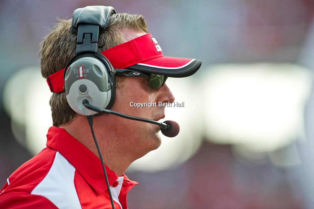 Aug 31, 2013; Fayetteville, AR, USA; Louisiana Ragin' Cajuns head coach Mark Hudspeth watches a play during the first half of a game against the Arkansas Razorback at Donald W. Reynolds Razorback Stadium. Arkansas defeated Louisiana 34-14. Mandatory Credit: Beth Hall-USA TODAY Sports