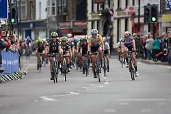 Marianne Vos (NED) of Rabo-Liv Cycling Team (middle) won the first sprint, followed by Leah Kirchman (CAN) of Liv-Plantur Cycling Team (left) and Christine Majerus (LUX) of Boels-Dolmans Cycling Team (right) during the Aviva Women's Tour 2016 - Stage 3. A 109.6 km road race from Ashbourne to Chesterfield, UK on June 17th 2016.