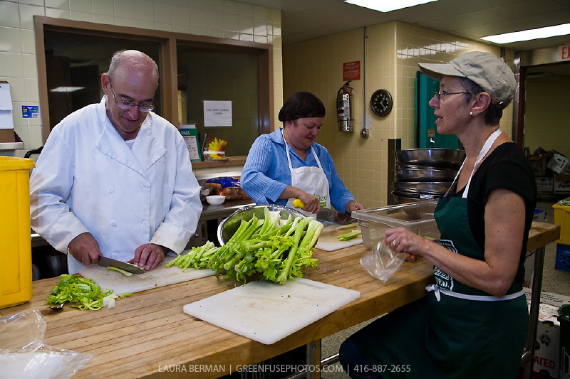 Alvin Rebick and volunteers prepare healthy food in the FoodShare kitchens.