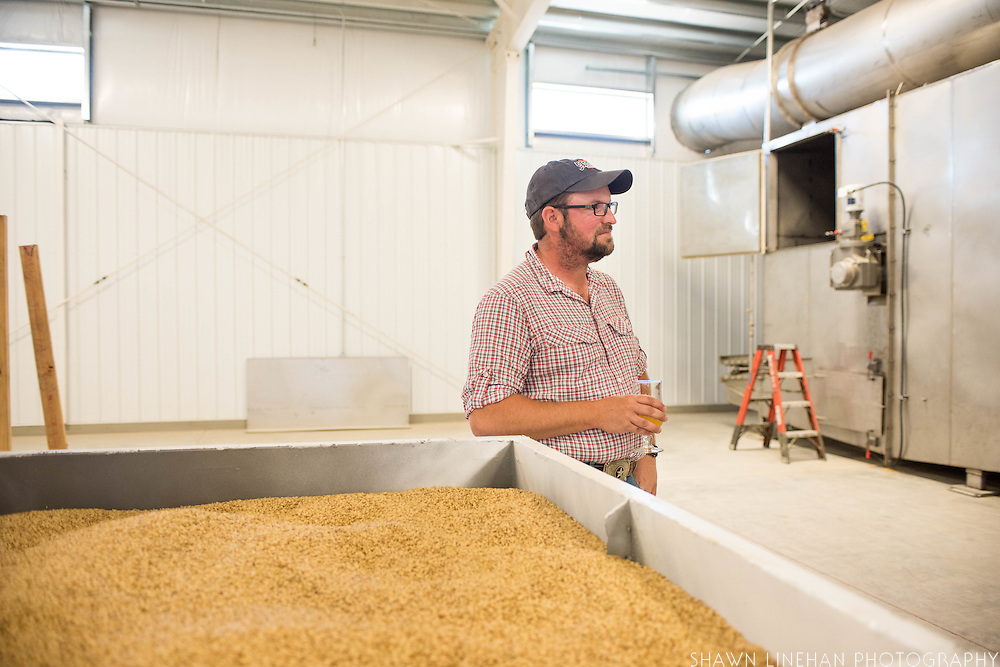 Seth Klann in the malting facility at his family farm, Mecca Grade Estate Malt, in Madras, Oregon.