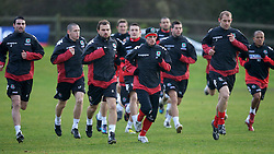 CHESTER, ENGLAND - Monday, February 4, 2008: Wales' L-R Craig Carl Fletcher and Jason Joumas during training at the Carden Park Hotel ahead of their friendly match against Norway. (Photo by David Rawcliffe/Propaganda)