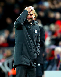 Manchester City manager Pep Guardiola shows a look of dejection towards the end of the match - Mandatory by-line: Matt McNulty/JMP - 31/12/2016 - FOOTBALL - Anfield - Liverpool, England - Liverpool v Manchester City - Premier League