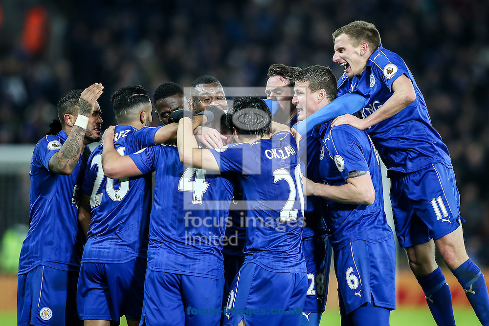 Daniel Drinkwater of Leicester City (centre) celebrates scoring with his team mates during the Premier League match at the King Power Stadium, Leicester<br /> Picture by Andy Kearns/Focus Images Ltd 0781 864 4264<br /> 27/02/2017