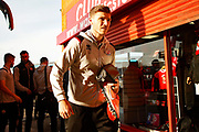 Jordan Tunnicliffe arrives before the EFL Sky Bet League 2 match between Walsall and Crawley Town at the Banks's Stadium, Walsall, England on 18 January 2020.
