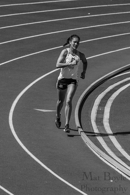 Rowan University's Vanessa Wright wins the women's 10000 meter at the NJAC Track and Field Championships at Richard Wacker Stadium on the campus of  Rowan University  in Glassboro, NJ on Saturday May 4, 2013. (photo / Mat Boyle)