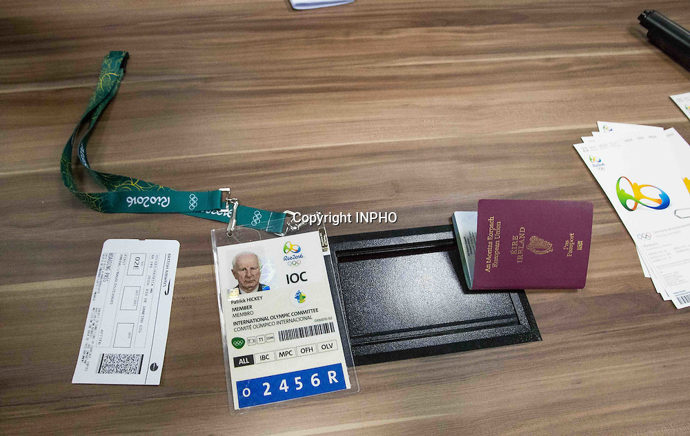 Rio 2016 Olympic Games Day 12, Rio de Janeiro, Brazil 17/8/2016<br /> Olympic Council of Ireland President Pat Hickey's passport and accreditation on show during today's Police press conference<br /> Mandatory Credit &copy;INPHO/Morgan Treacy