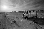 Death Valley,California,USA.<br /> Wreckage of a camper van in Death Valley, California,USA.<br /> COPYRIGHT PHOTOGRAPH BY BRIAN HARRIS  &copy;<br /> 07808-579804
