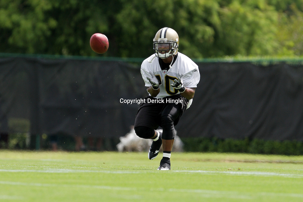 05 June 2009: Saints receiver Skyler Green (10) participates in drills during the New Orleans Saints Minicamp held at the team's practice facility in Metairie, Louisiana.