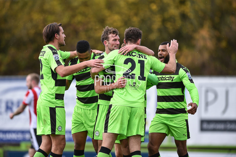 Forest Green Rovers Forward, Christian Doidge (9) celebrates after scoring the oping goal during the Vanarama National League match between Forest Green Rovers and Lincoln City at the New Lawn, Forest Green, United Kingdom on 19 November 2016. Photo by Adam Rivers.