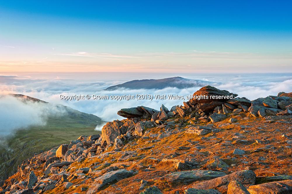 View to Glyder Fach at sunset<br /> Glyderau<br /> Snowdonia<br /> Gwynedd<br /> North<br /> Scenery