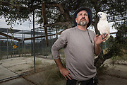 Matthew Simmons, Navy Veteran, and co-founder of Lockwood Animal Rescue Center, with Ditto the cockatoo, inspecting one of LARC's numerous free flight aviaries. Though best known from Animal Planet's docu-series Wolves and Warriors, LARC is residence to rescued parrots, horses, and farm animals.
