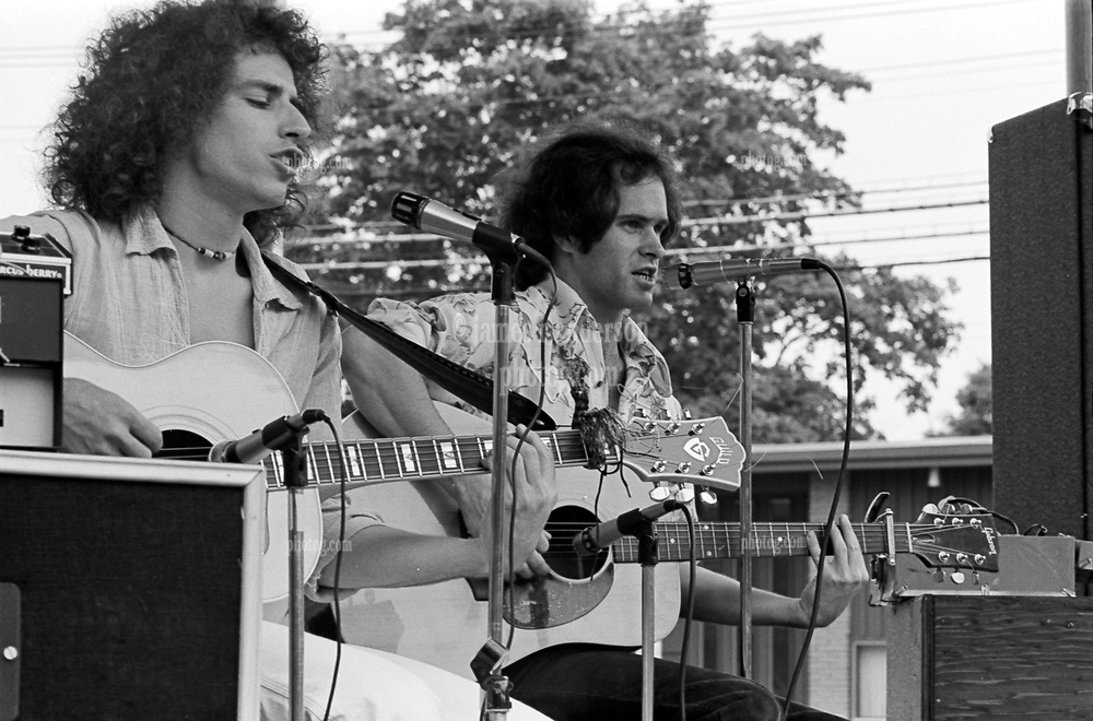 Bill Seiden and Paul Zimmerman in Acoustic Concert on 24 June 1977. On the Milford Green, Milford Connecticut.