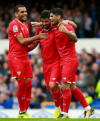 Ever Banega of Sevilla celebrates after scoring his sides second goal - Mandatory by-line: Matt McNulty/JMP - 06/08/2017 - FOOTBALL - Goodison Park - Liverpool, England - Everton v Sevilla - Pre-season friendly