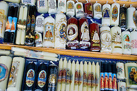 A selection of Maria candles in Einsiedeln, Switzerland.
