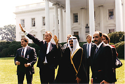 Sept. 28, 1990 - Washington, District of Columbia, United States of America - Washington, D.C. - September 28, 1990 -- United States President George H.W. Bush and His Highness Jabir al-Ahmad al-Jabir al-Sabah, the Emir of Kuwait wave to supporters from the north lawn of the White House in Washington, D.C. on September 28, 1990..Credit: White House via CNP (Credit Image: © White House/CNP/ZUMAPRESS.com)