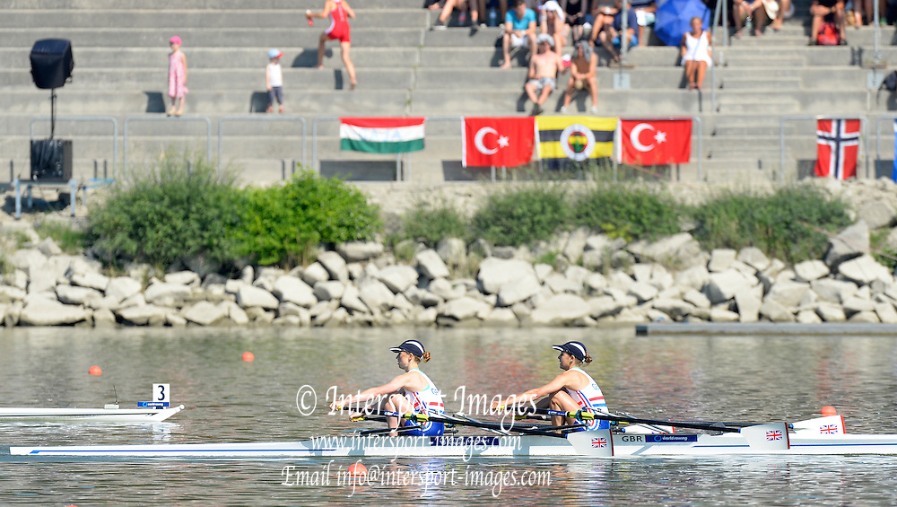 Linz. AUSTRIA.    Women's Lightweight Double Sculls, Semi Final 1,  GBR BLW2X, Bow Eleanor PIGGOTT and Brianna STUBBS, sculling to the line to win their semi and qualify for Sundays final at the FISA U23 World Championships, Linz-Ottensheim Rowing Course.  10:03:09  Saturday  27/07/2013. [Mandatory Credit, Peter Spurrier/ Intersport Images] ,