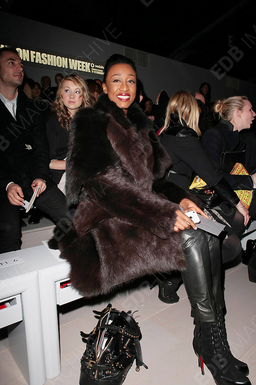 18.FEBRUARY. LONDON<br /> <br /> BEVERLEY KNIGHT ATTEND THE JASPER CONRAN SHOW DURING LONDON FASHION WEEK AUTUMN/WINTER 2012 AT SOMERSET HOUSE.<br /> <br /> BYLINE: EDBIMAGEARCHIVE.COM<br /> <br /> *THIS IMAGE IS STRICTLY FOR UK NEWSPAPERS AND MAGAZINES ONLY*<br /> *FOR WORLD WIDE SALES AND WEB USE PLEASE CONTACT EDBIMAGEARCHIVE - 0208 954 5968*