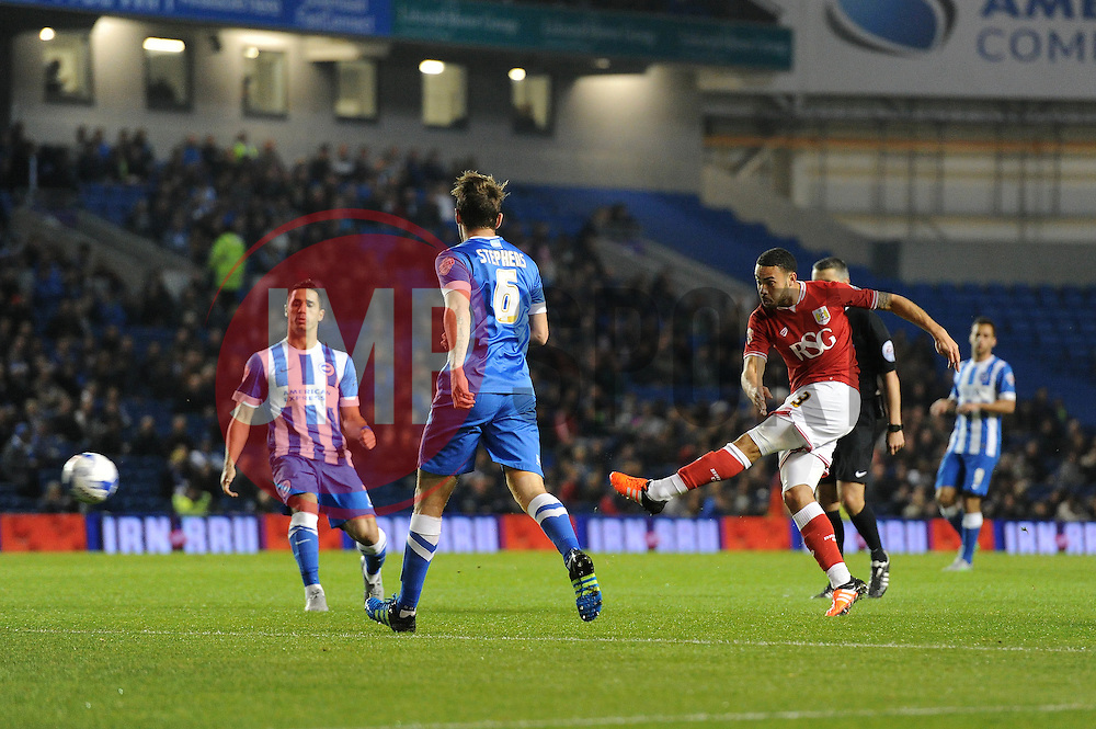 Derrick Williams of Bristol City takes a shot at goal - Mandatory byline: Dougie Allward/JMP - 07966 386802 - 20/10/2015 - FOOTBALL - American Express Community Stadium - Brighton, England - Brighton v Bristol City - Sky Bet Championship
