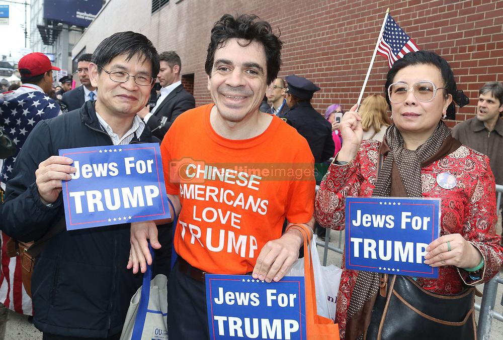 May 4, 2017 - New York, New York, U.S. - Pro Trump supporters wait outside the Intrepid Air & Space Museum marking Trump's first visit to NYC since he became President. (Credit Image: © Nancy Kaszerman via ZUMA Wire)