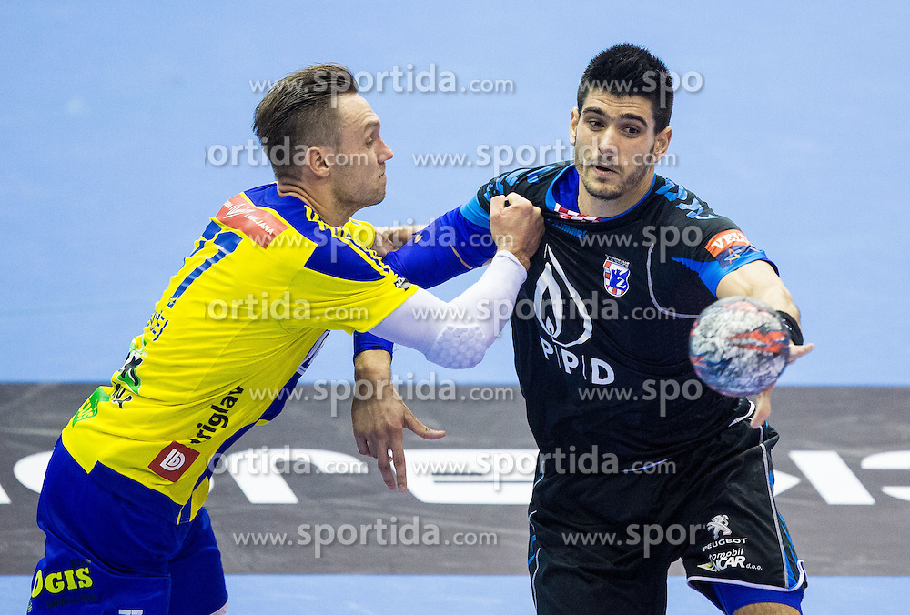 Luka Zvizej of RK Celje PL vs Luka Stepancic of RK Zagreb during handball match between RK Celje Pivovarna Lasko and RK Zagreb in Round #2 of Group Phase of EHF Champions League 2015/16, on September 26, 2015 in Arena Zlatorog, Celje, Slovenia. Photo by Vid Ponikvar / Sportida