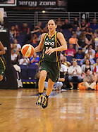 Aug 20, 2010; Phoenix, AZ, USA; Seattle Storm guard Sue Bird (10) dribbles the ball down the court against the Phoenix Mercury at US Airways Center. The Storm defeated the Mercury 78-73.  Mandatory Credit: Jennifer Stewart-US PRESSWIRE
