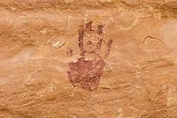 Anasazi handprints on canyon walls of Grand Gulch, Cedar Mesa Utah Bears Ears National Monument