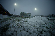 General Stadium view of a snowy Mobile Rocket Stadium ahead of Wakefield Trinity vs Widnes Vikings during the Betfred Super League match at Mobile Rocket Stadium, Belle Vue, Wakefield<br /> Picture by Stephen Gaunt/Focus Images Ltd +447904 833202<br /> 17/03/2018