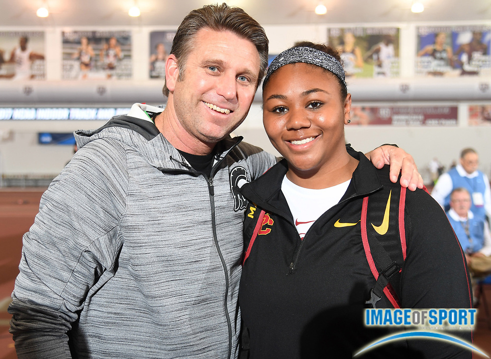 Mar 11, 2017; College Station, TX, USA; Southern California Trojans throws coach Dan Lange (left) poses with shot putter Brittany Mann during the NCAA Indoor Track and Field Championships at the Rhonda and Frosty Gilliam Jr. Indoor Track Stadium at the McFerrin Athletic Center.