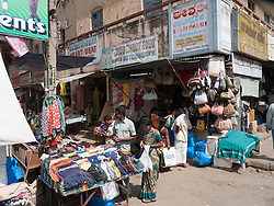 Street clothing stall and shops, Mysore.